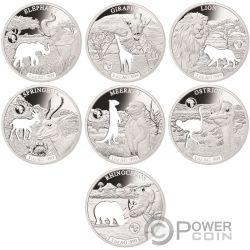 SHAPES OF AFRICA Cutout Set 8x1 Oz Серебро Монета 250 Франков Джибути 2018
