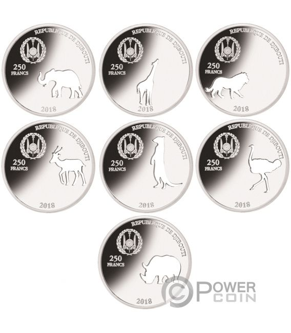 SHAPES OF AFRICA Cutout Set 8x1 Oz Silver Coin 250 Francs Djibouti 2018