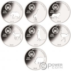 SHAPES OF AFRICA Cutout Set 8x1 Oz Silber Münze 250 Francs Djibouti 2018