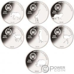 SHAPES OF AFRICA Formas Cutout Set 8x1 Oz Moneda Plata 250 Francos Djibouti 2018