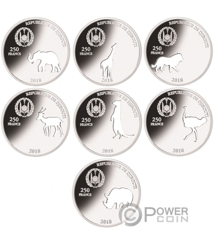 Shapes Of Africa Cutout Set 8x1 Oz Silver Coin 250 Francs Djibouti