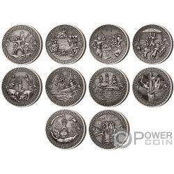 ADVENTURES OF ODYSSEUS Ulysses Set 10x2 Oz Silber Münzen 5$ Solomon Islands 2018