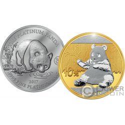 PANDA Jubilee Set Moneda Platino Oro 10$ 10 Yuan China Cook Islands 2017