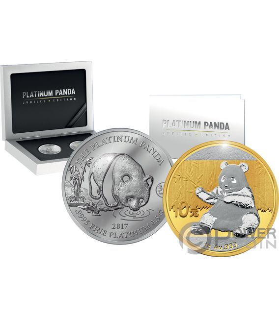 PANDA Jubilee Set Platinum Gold Coin 5$ 10 Yuan China Cook Islands 2017