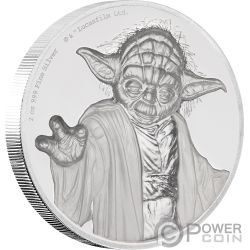 YODA Ultra High Relief Star Wars 2 Oz Moneta Argento 5$ Niue 2018