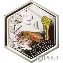 MANUKA HONEY Abeja Miel Forma Hexagonal 1 Oz Moneda Plata 1$ New Zealand 2018