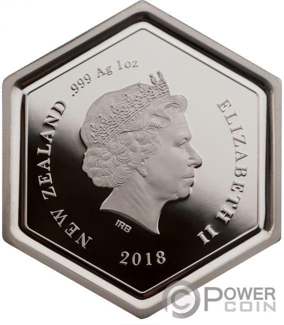 MANUKA HONEY Bee Hexagonal Shape 1 Oz Серебро Монета 1$ Новая Зеландия  2018