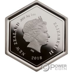 MANUKA HONEY Bee Hexagonal Shape 1 Oz Silver Coin 1$ New Zealand 2018