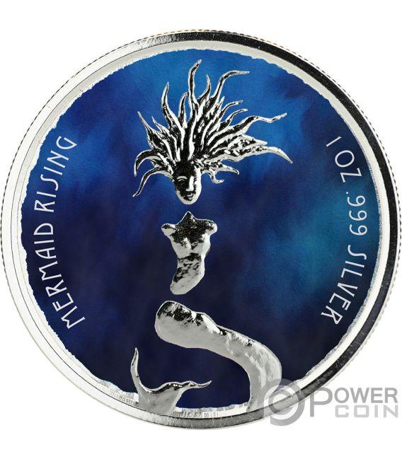 MERMAID RISING Coloured 1 Oz Silver Coin 1$ Fiji 2018