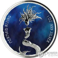 MERMAID RISING Farbige Meerjungfrau 1 Oz Silber Münze 1$ Fiji 2018