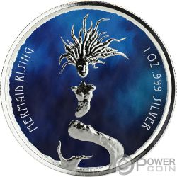 MERMAID RISING Sirena Colorata 1 Oz Moneta Argento 1$ Fiji 2018