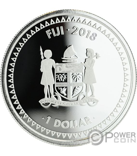 MERMAID RISING Sirena Coloreada 1 Oz Moneda Plata 1$ Fiji 2018