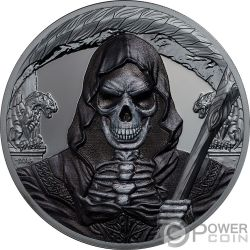 GRIM REAPER Morte Dark Side 1 Oz Moneta Argento 1000 Franchi Equatorial Guinea 2018