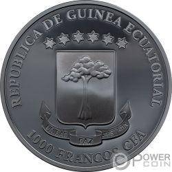 GRIM REAPER Muerte Dark Side 1 Oz Moneda Plata 1000 Francos Equatorial Guinea 2018