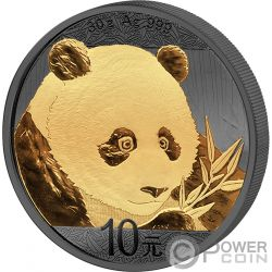 PANDA Golden Enigma Moneda Plata 10 Yuan China 2018