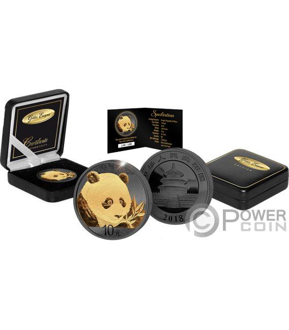PANDA Golden Enigma Moneda Plata 10 Yuan China 2018