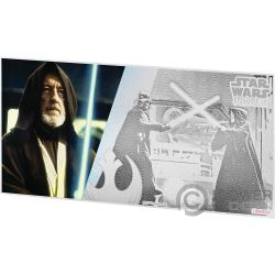 OBI WAN KENOBI Star Wars New Hope Foil Silver Note 1$ Niue 2018