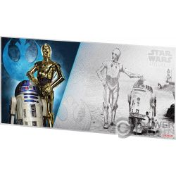 R2-D2 AND C-3PO Star Wars New Hope Foil Silver Note 1$ Niue 2018