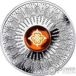 ETERNAL KNOT Ewiger Knoten Amulet Amber Silber Münze 1$ Niue 2018