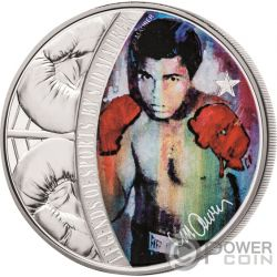 MUHAMMAD ALI Cassius Clay Legends of Sports Sid Maurer 1 Oz Moneta Argento 5$ Solomon Islands 2018