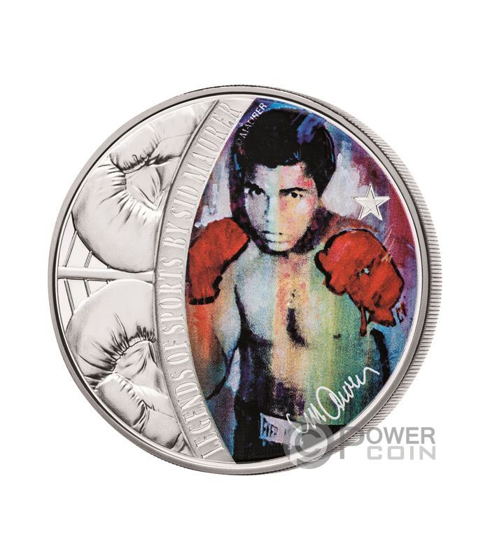 MUHAMMAD ALI Cassius Clay Legends of Sports Sidney Maurer 1 Oz Silver Coin  5  Solomon 0496319a8d