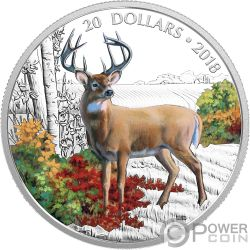 WANDERING WHITE TAILED DEER Majestic Wildlife 1 Oz Silver Coin 20$ Canada 2018
