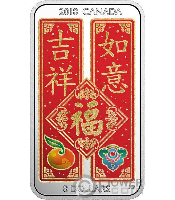 Chinese Blessings Fai Chun Shou Silver Coin 8 Canada 2018