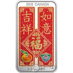 CHINESE BLESSINGS Fai Chun Shou Silver Coin 8$ Canada 2018
