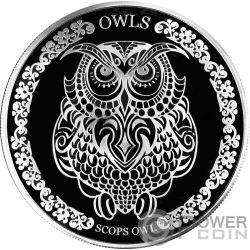 SCOPS OWL Zwergohreulen 1 Oz Silber Münze 5$ Tokelau 2018