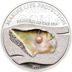 PEARL PINK Princess Of Sea Marine Life Silver Coin 5$ Palau 2011