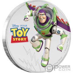 BUZZ LIGHTYEAR Toy Story Disney 1 Oz Silver Coin 2$ Niue 2018