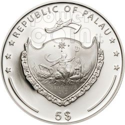 PEARL PINK Princess Of Sea Marine Life Silver Coin 5$ Palau 2011