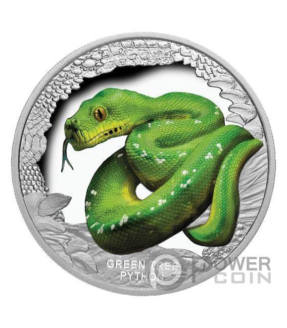 GREEN TREE PYTHON Remarkable Reptiles 1 Oz Silver Coin 1$ Tuvalu 2018