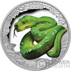 GREEN TREE PYTHON Piton Verde Remarkable Reptiles 1 Oz Moneda Plata 1$ Tuvalu 2018