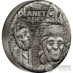 PLANET OF THE APES 50. Jahrestag 2 Oz Silber Münze 2$ Tuvalu 2018