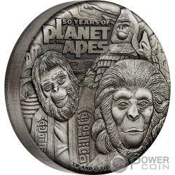 PLANET OF THE APES Pianeta Scimmie 50 Anniversario 2 Oz Moneta Argento 2$ Tuvalu 2018