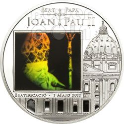 BEATIFICATION JOHN PAUL II Silber Münze Hologram 5D Andorra 2011