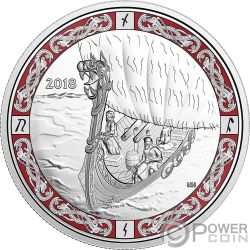 VIKING VOYAGE Viaggio Vichingo Norse Figureheads 1 Oz Moneta Argento 20$ Canada 2018