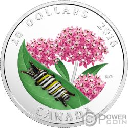 MONARCH CATERPILLAR Bruco Monarca Little Creatures Vetro Murano 1 Oz Moneta Argento 20$ Canada 2018