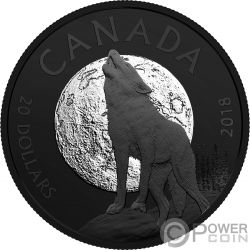 HOWLING WOLF Lupo Ululante Nocturnal By Nature 1 Oz Moneta Argento 20$ Canada 2018