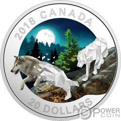 GREY WOLVES Graue Wölfe Geometric Fauna 1 Oz Silber Münze 20$ Canada 2018