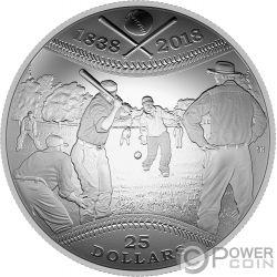 CANADIAN BASEBALL 180th Anniversary Convex Серебро Монета 25$ Канада 2018