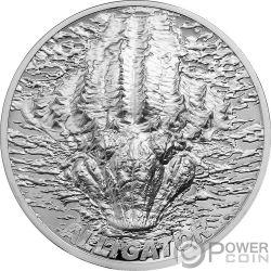 ALLIGATOR Aligator Bitemarks 1 Oz Moneda Plata 5$ Palau 2018