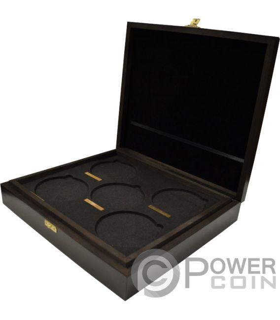 WOODEN CASE Box Cofanetto Legno Queen Beasts Series 10 Oz Display Monete Argento Espositore