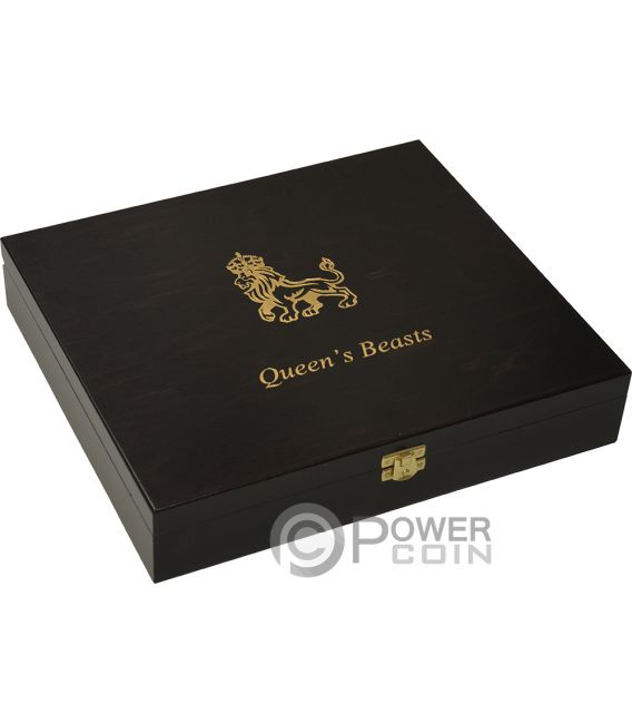 WOODEN CASE Box Queen Beasts Series 10 Oz Display Silver Coins Holder