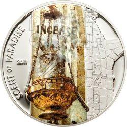 INCENSE Scent Of Paradise Smelling Серебро Монета 5$ Палау 2011