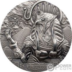 RA SUN GOD Dios Sol Egipcio Cabeza Aguila Gods Of The World 3 Oz Moneda Plata 20$ Cook Islands 2018