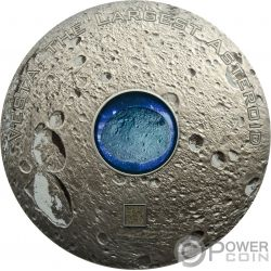 VESTA THE LARGEST ASTEROID Großer Asteroid Hed Meteorites 3 Oz Silber Münze 20$ Cook Islands 2018