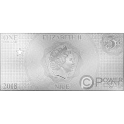 BATMAN Justice League Foil Серебро Note 1$ Ниуэ 2018