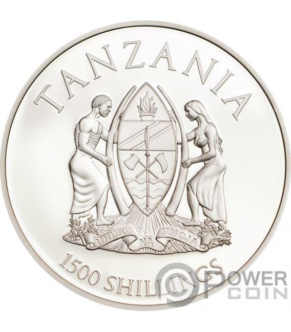 PANTHERA LEO Lion Rare Wildlife 2 Oz Silver Coin 1500 Shillings Tanzania 2018